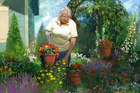 My Mother Loves Her Garden oil painting by daryl urig